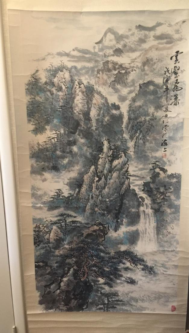 Antique Chinese Painting Mountain Scene by Ren Rong - 9
