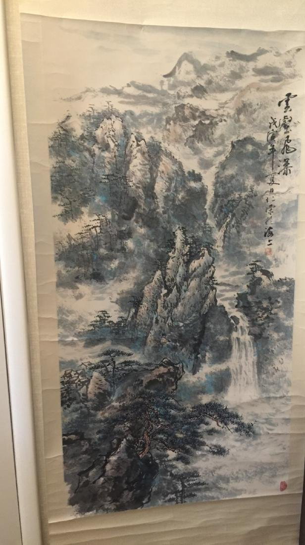 Antique Chinese Painting Mountain Scene by Ren Rong