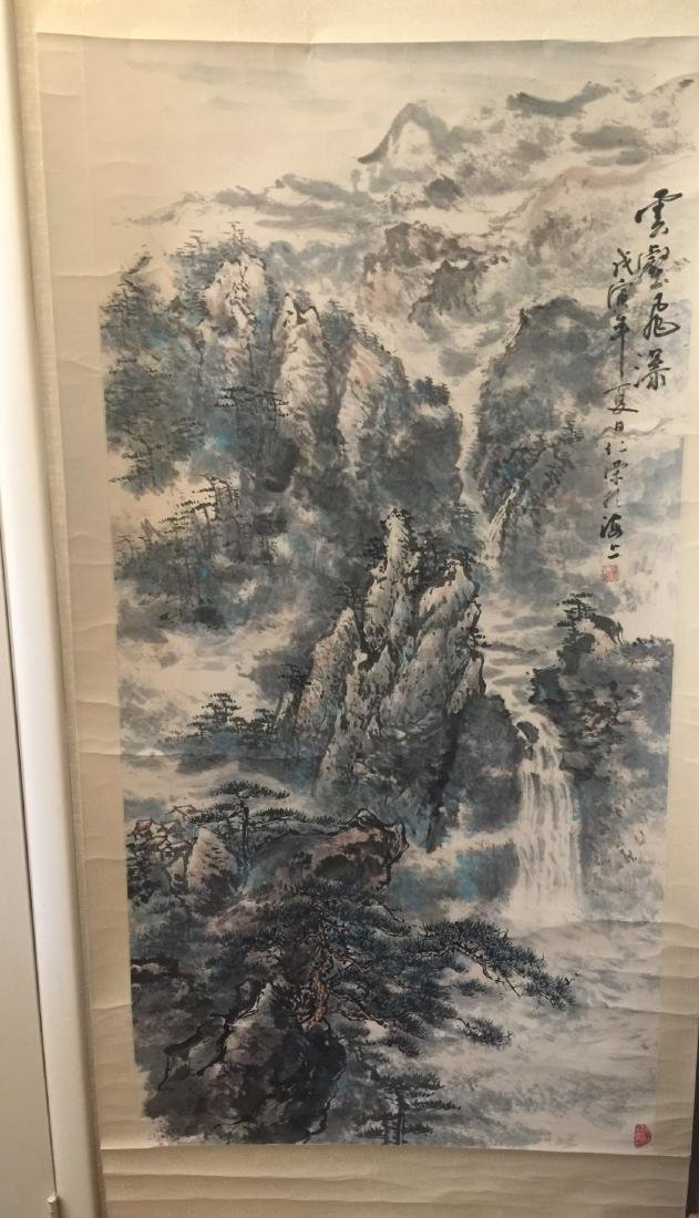 Antique Chinese Painting Mountain Scene by Ren Rong - 2
