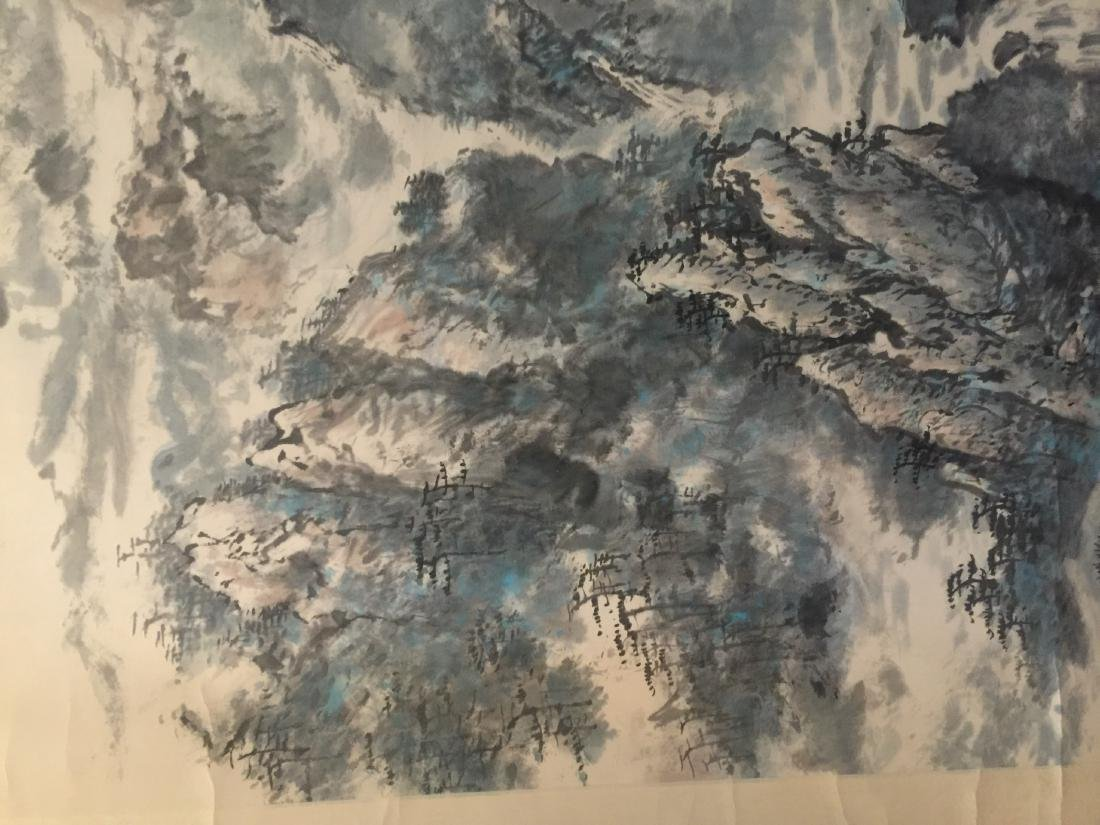 Antique Chinese Painting Mountain Scene by Ren Rong - 6