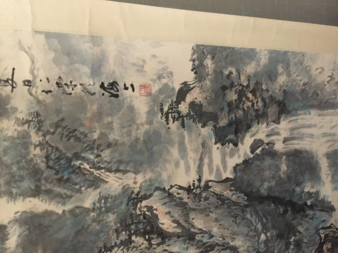 Antique Chinese Painting Mountain Scene by Ren Rong - 8