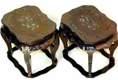 Pair Chinese black lacquer Stands with mother of pearl