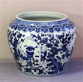 Antique Chinese Blue and White Porcelain Fish Bowl