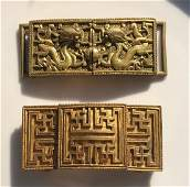 Two Antique Chinese Gold Gilted on Bronze Buckles Qing