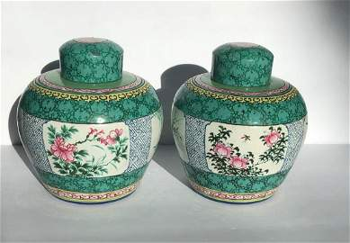 Pair of Yixing Zisha Tea Caddy