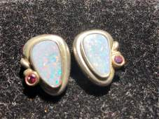 Pair of Silver and 14K Gold Opal Earrings