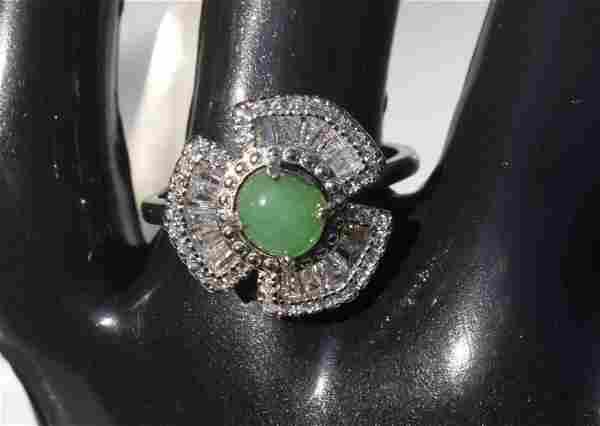 Natural Silver Jadeite Ring