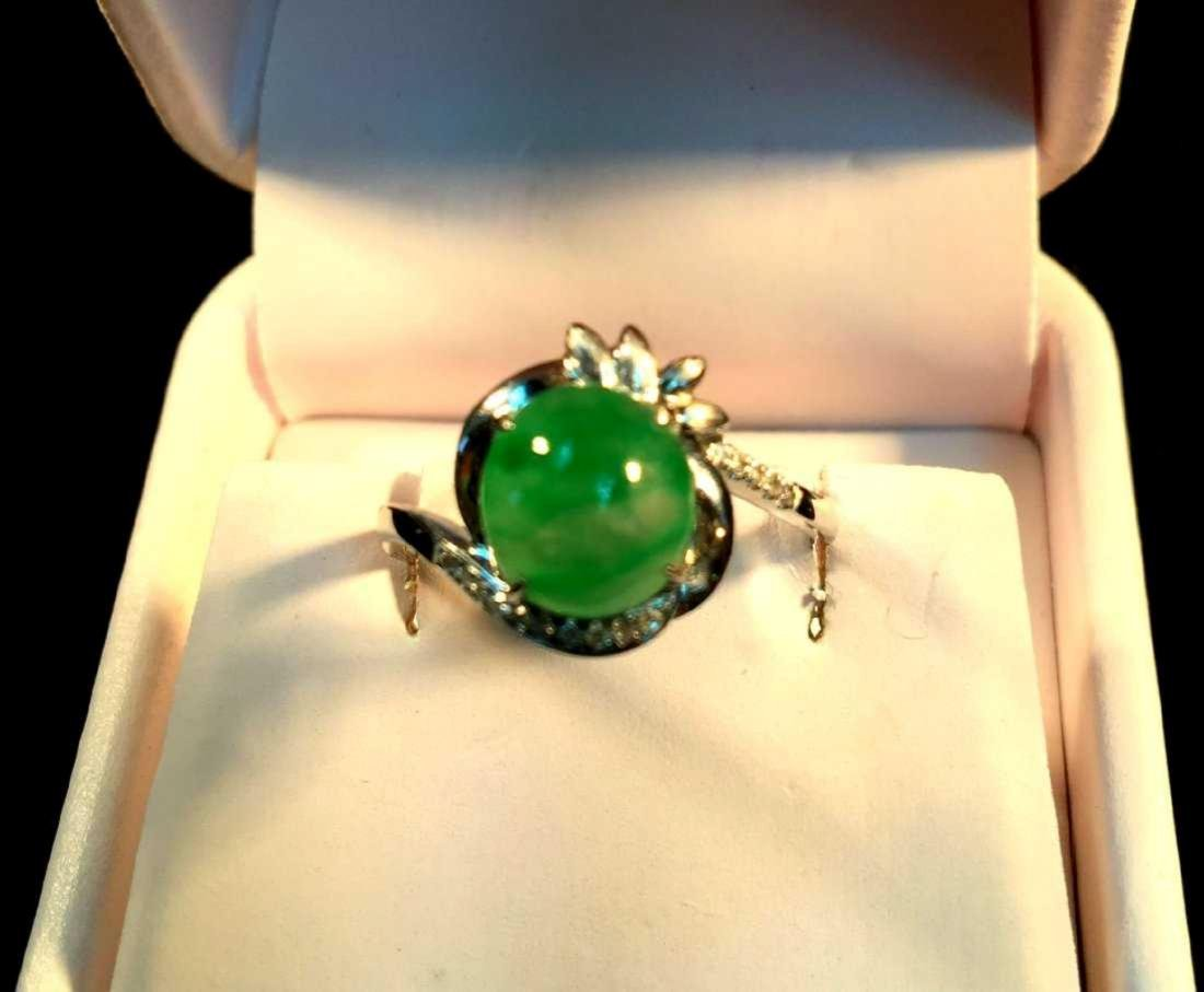 18K White Gold Diamond Icy Jadeite Ring, Grade A tested