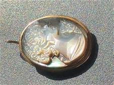 Vintage 14K Gold Cameo Pendant and Brooch Pin