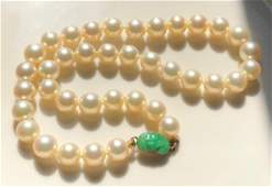 Antique Chinese Pearl Necklace with Green Jadeite 14K