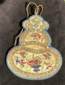 Antique Chinese Embroidery Gourd Shape Purse