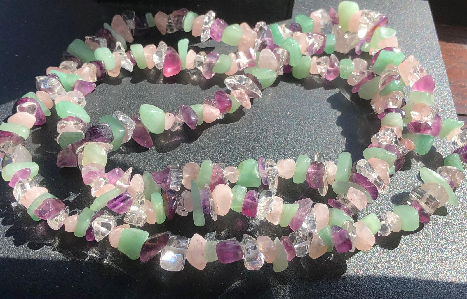 Vintage Pink Crystal, Amethyst Beads Necklace