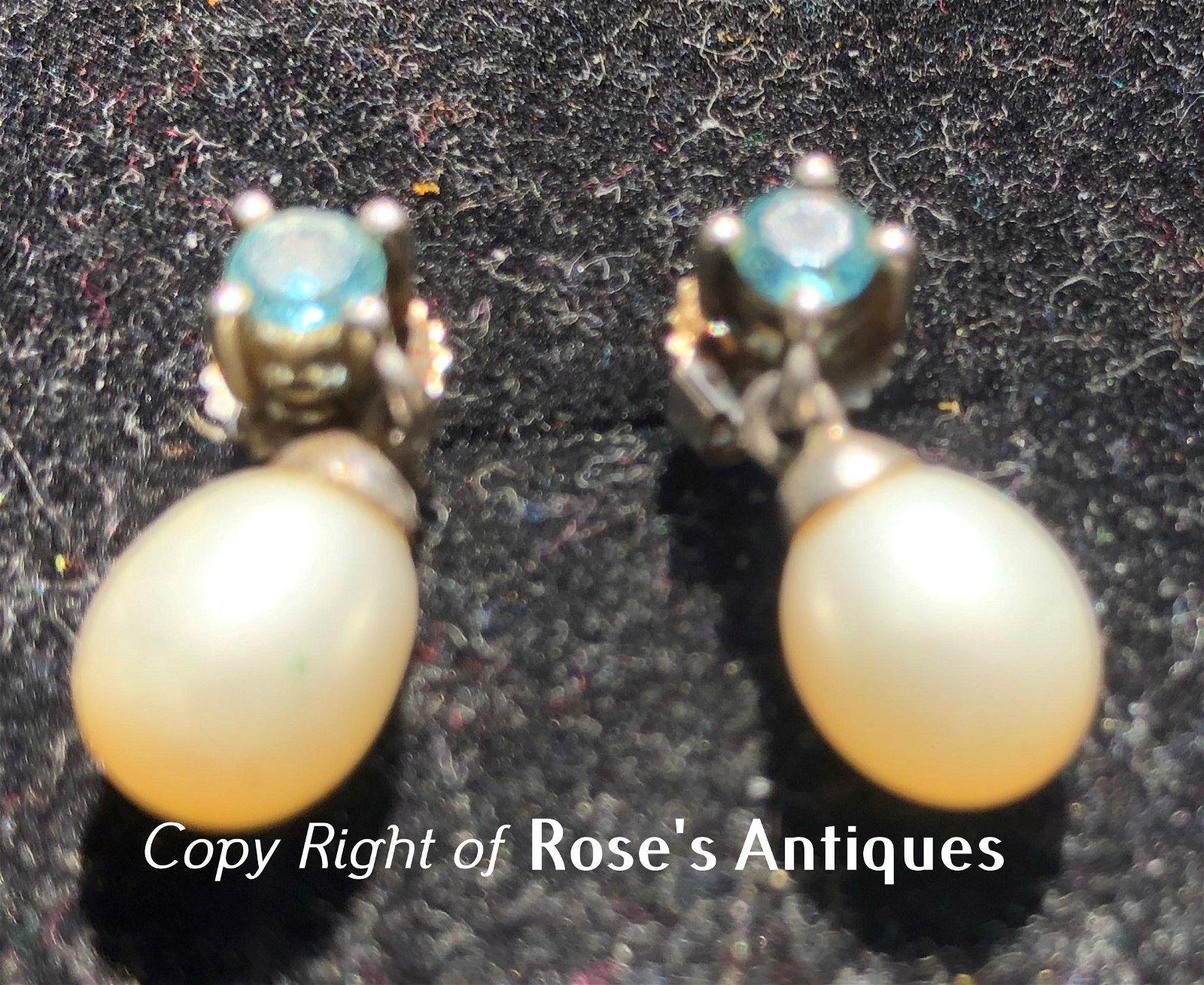 Pair of Vintage Silver Pearl Earrings