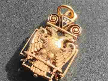 Knights Templar Masonic 14K Gold Enameled  Tri-Fold