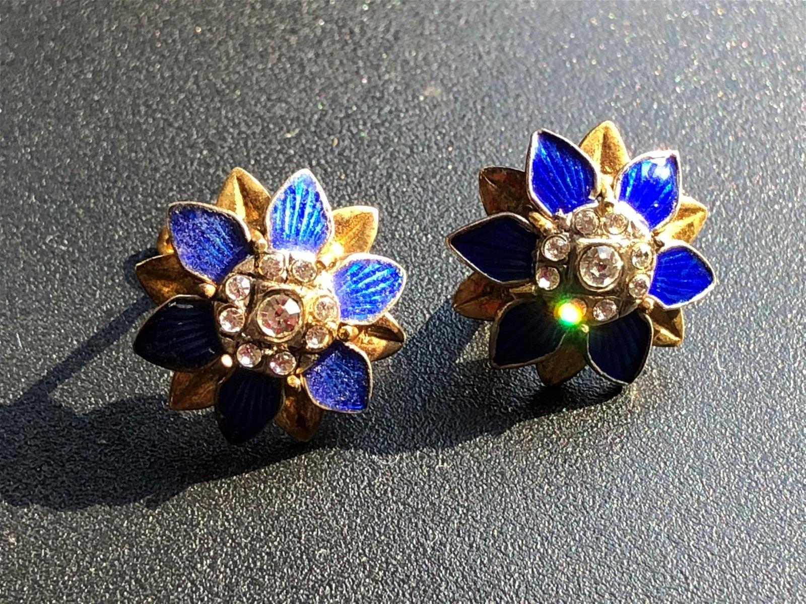 Pair of Vintage Enamel Silver Earrings