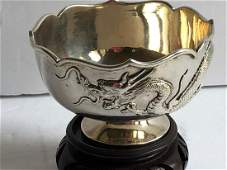 Antique Chinese Silver Dragon Bowl, Marked SF, Wen