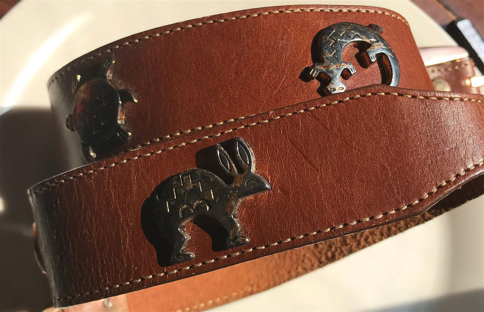 Vintage Leather Belt with Silver Inlay and Buckel