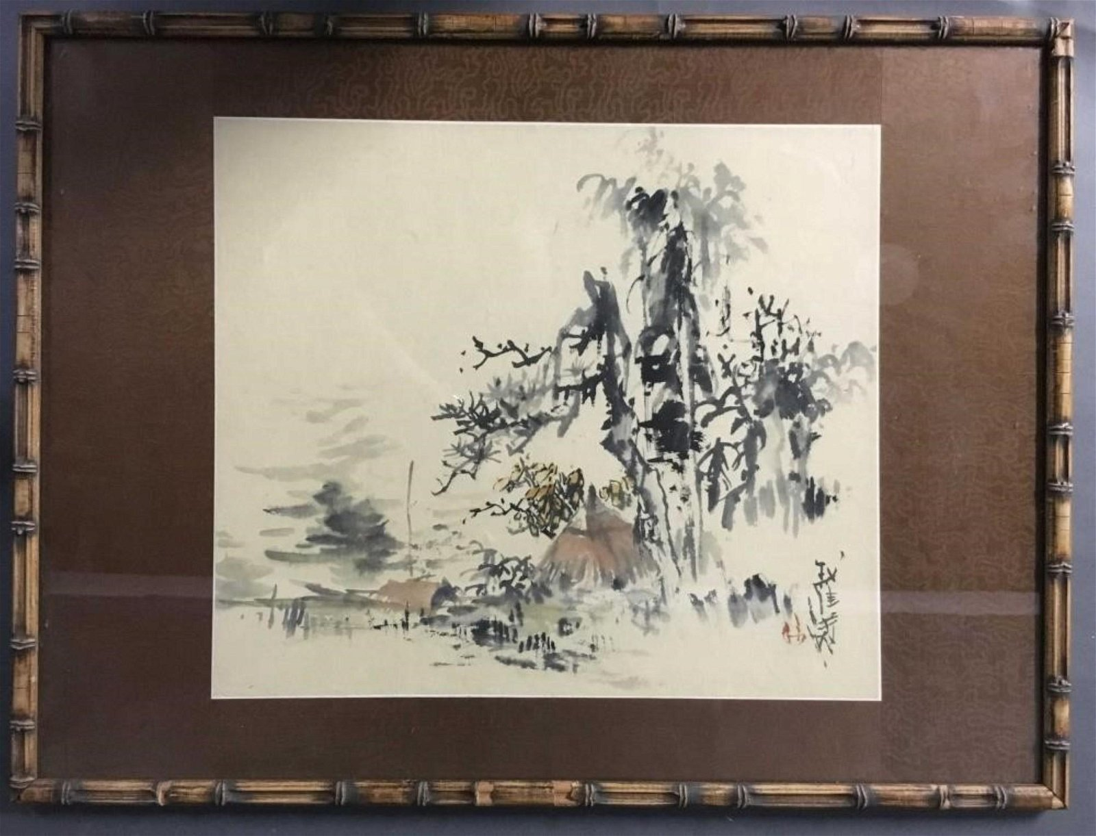 Vintage Chinese ink and watercolors on paper Framed