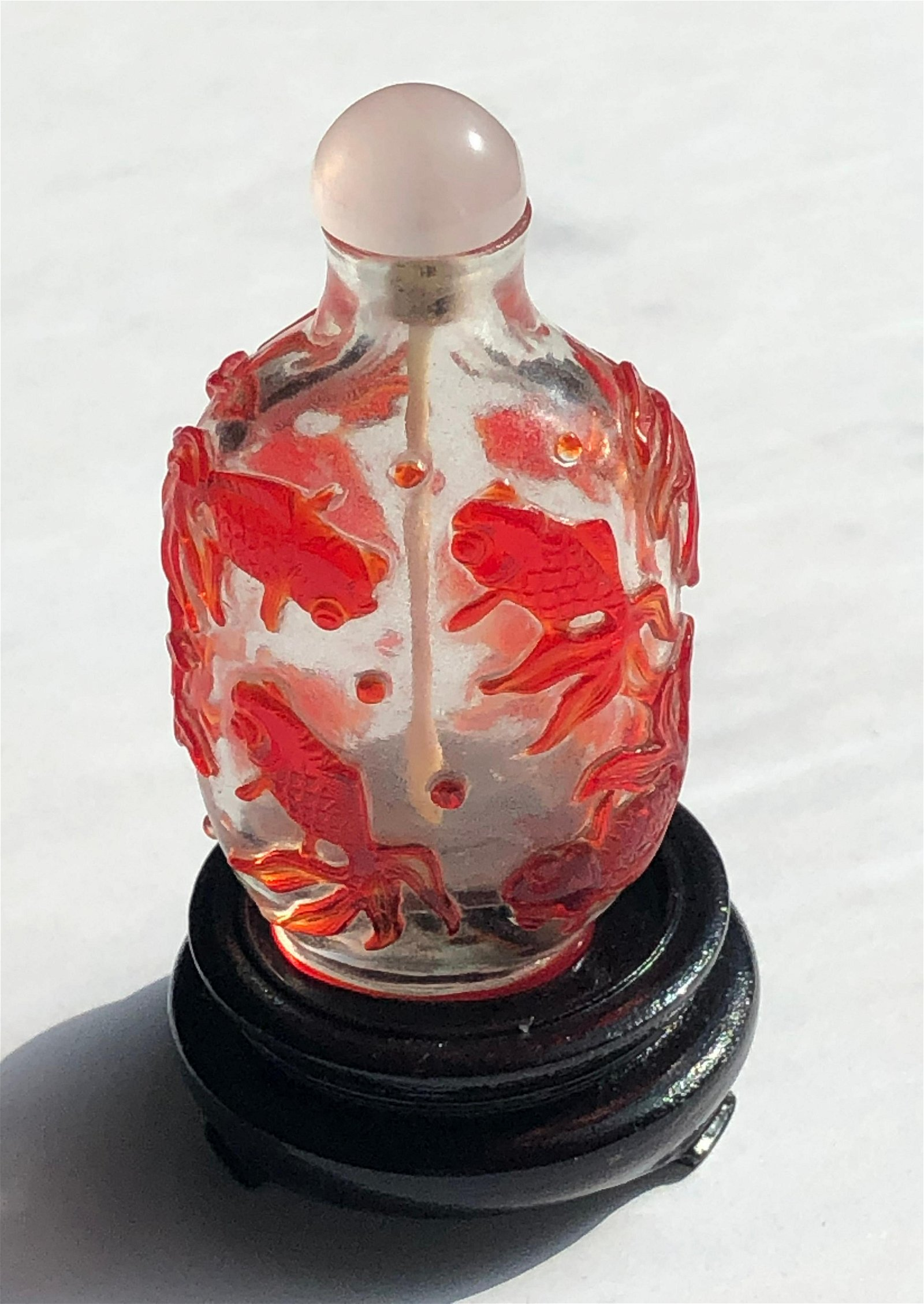 Antique Chinese Red Overlay Glass Snuff Bottle