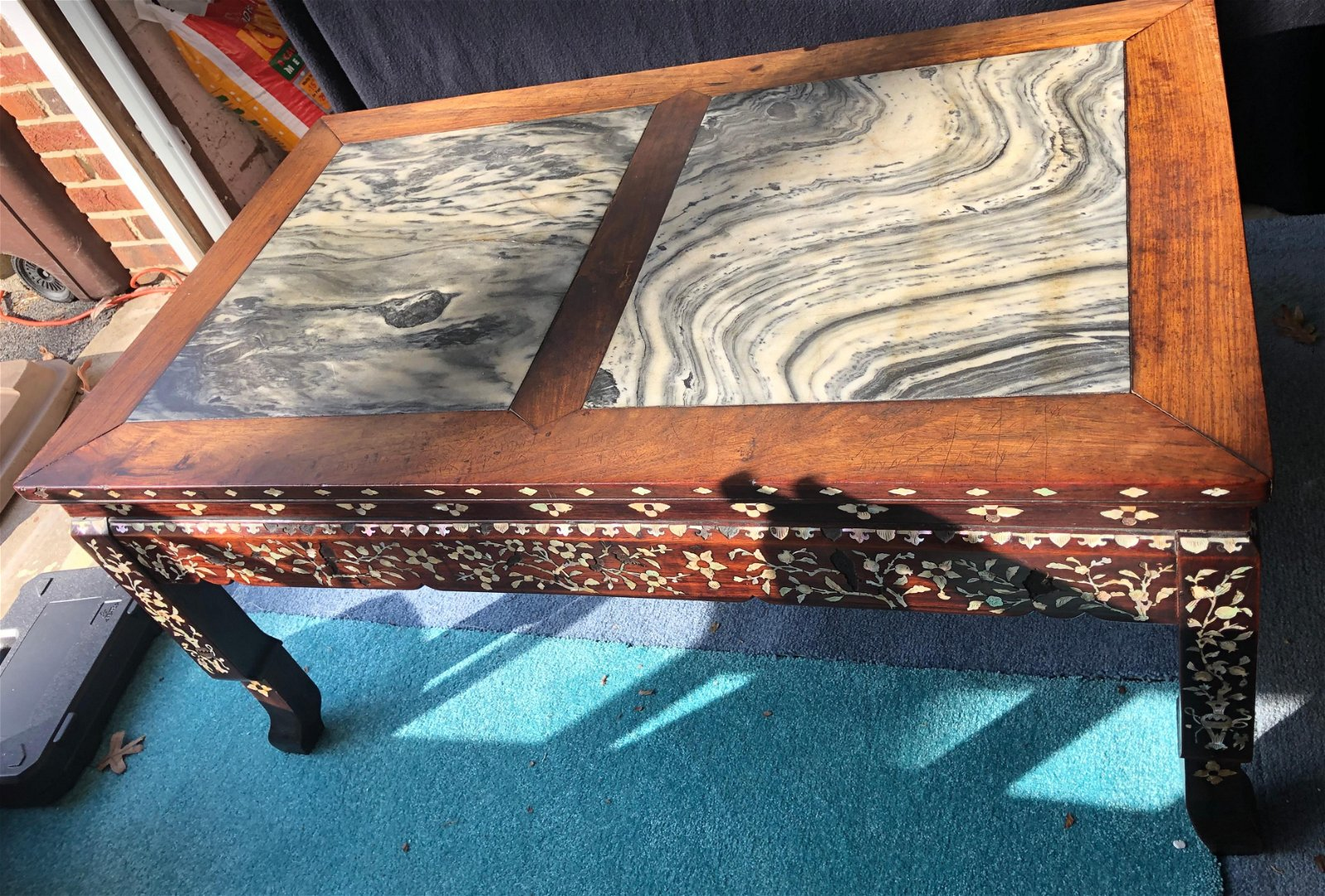 Antique Chinese Marble Top Rosewood Table
