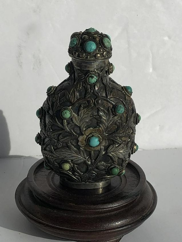 Antique Chinese Silver Turquoise Snuff Bottle