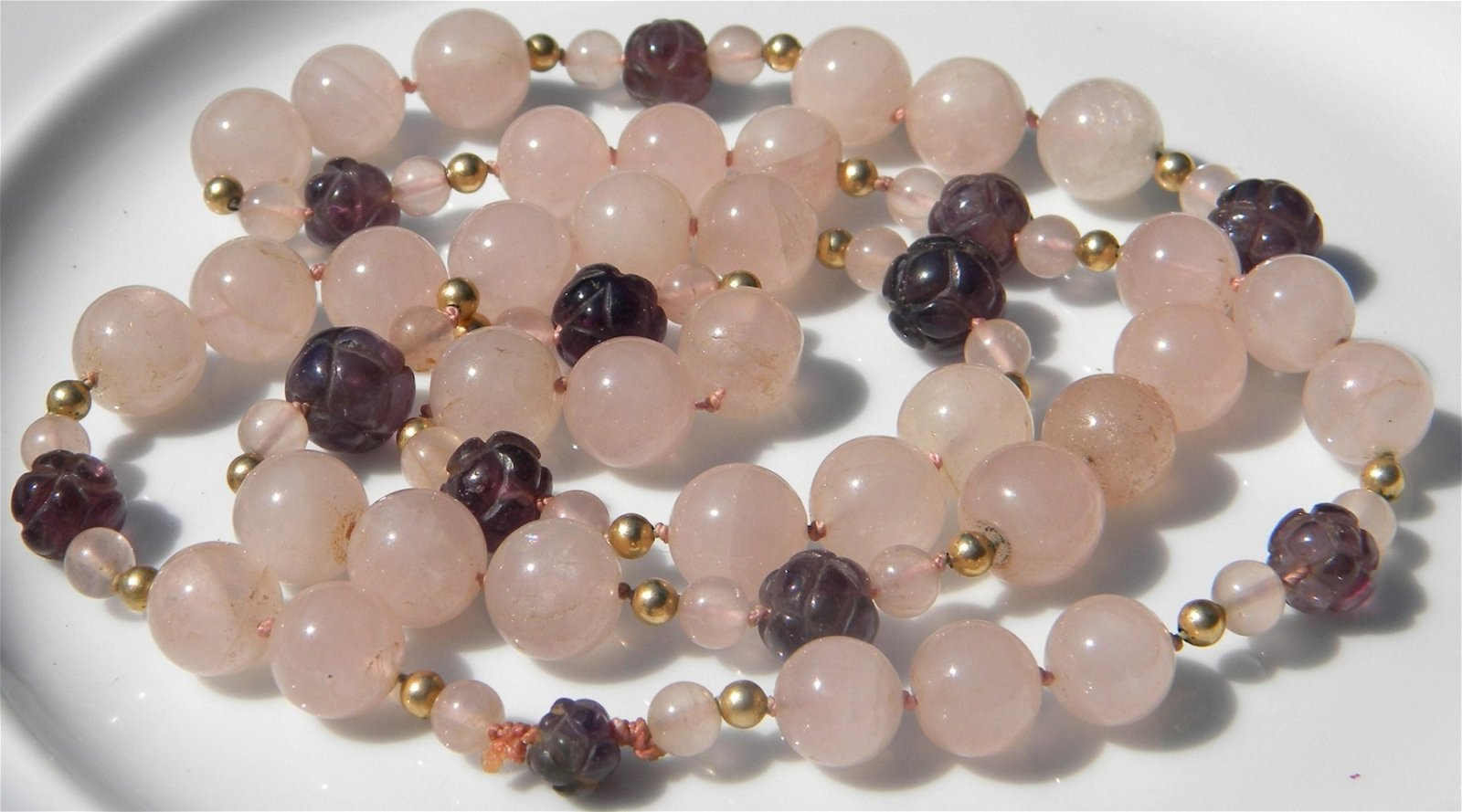 Vintage Pink Crystal and Amethyst Beads Necklace