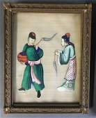 ANTIQUE CHINESE EXPORT QING DYNASTY WATERCOLOR PAINTING