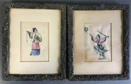 PAIR of ANTIQUE CHINESE EXPORT QING DYNASTY WATERCOLOR