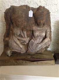ANTIQUE ASIAN STONE BUDDAH FROM A TEMPLE , TWO BUDDAHS