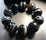 Vintage Black and White Stripe Agate Bracelet