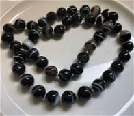 Vintage Black and White Stripe Agate Beads Necklace