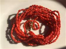 Vintage Four Strings Red Coral Necklace