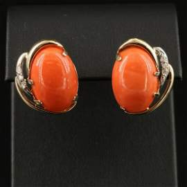 Pair of 14K Gold Coral and Diamond Button Earrings