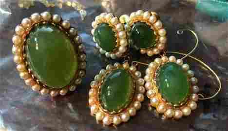 Set of 16K Gold Green Jade Jadeite Ring and Earrings