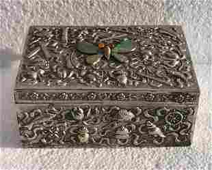 Antique Chinese Silver Box Jadeite Butterfly