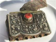 Antique Tibet Silver Pendant with Red Coral