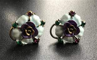 Pair of Enamel Flower Earrings