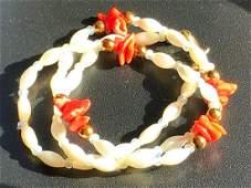 Vintage Pearl Coral Necklace