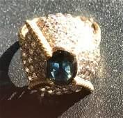 Vintage 14K Gold Diamond Sapphire Ring Marked 14KP
