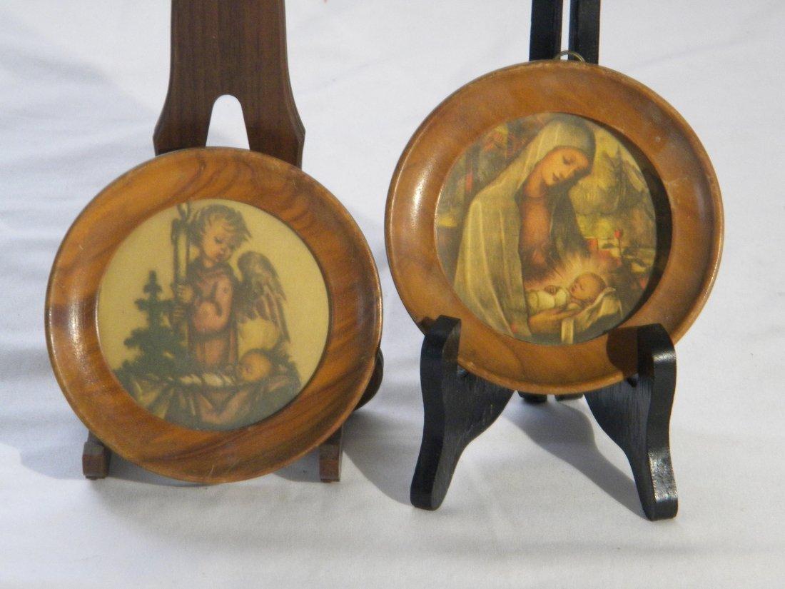 PAIR OF PAINTING ANGEL AND SAINT MARIA LOOKING JESUS