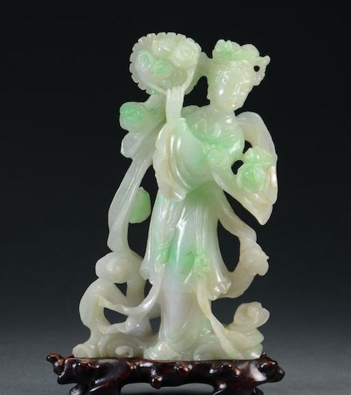 Chinese Natural Grade A Jadeite Figure of Maiden