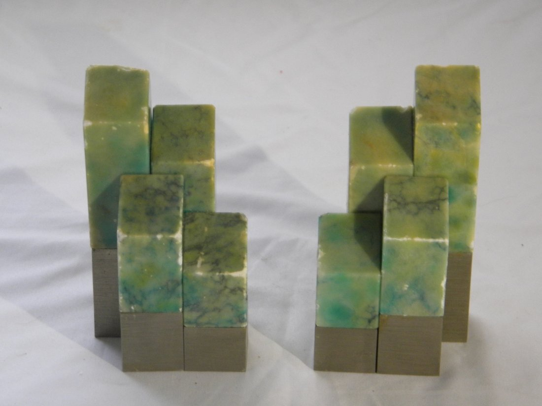 PAIR OF ITALIAN GREEN STONE BOOK ENDS