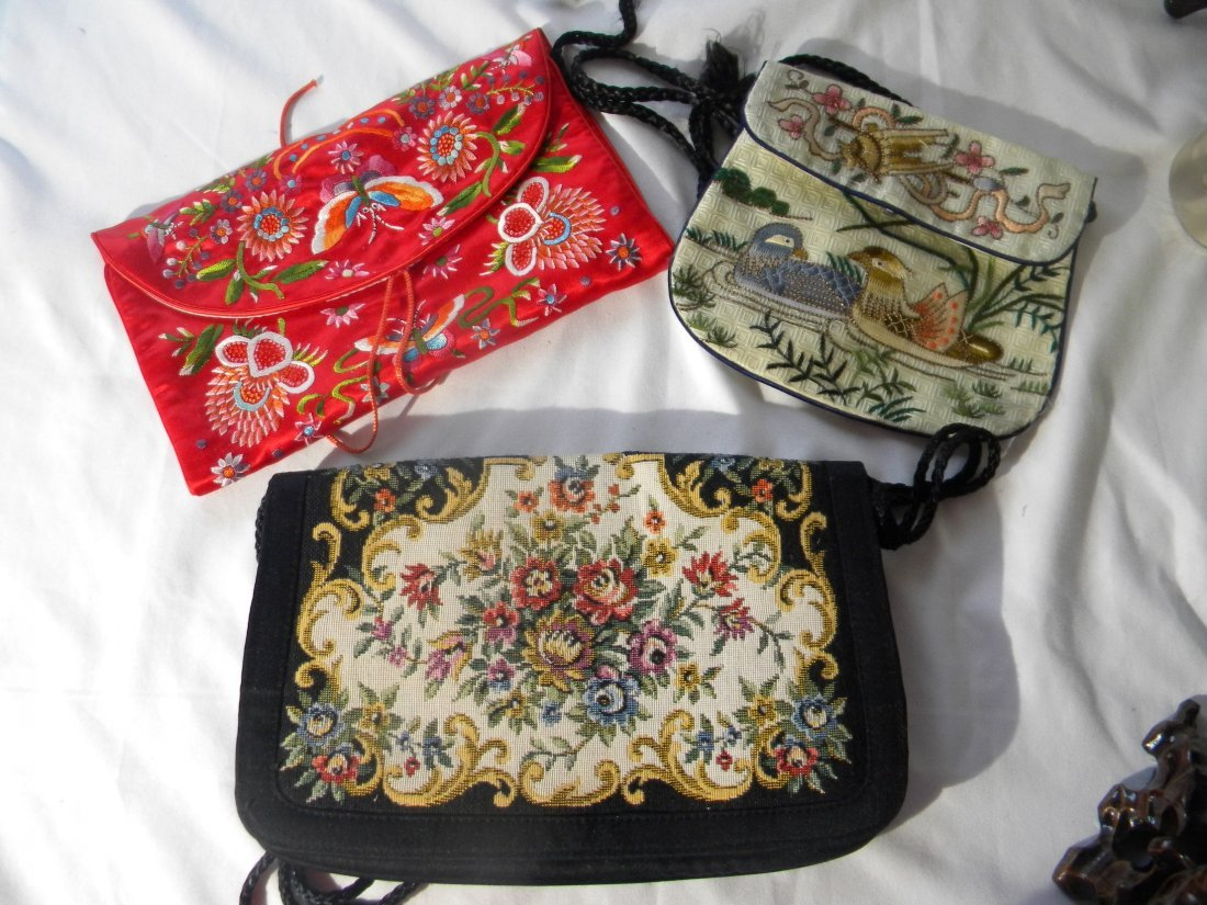 THREE CHINESE EMBROIDERY PURSES