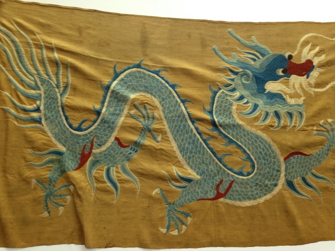 CHINESE ANTIQUE DRAGON EMBROIDERY FLAG
