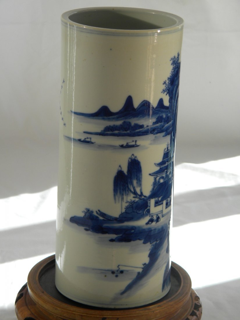 CHINESE BLUE AND WHITE HAT STAND GUANGXU MOUNTAIN SCENE - 2
