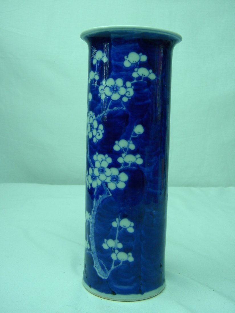 ANTIQUE CHINESE BLUE AND WHITE PLUM FLOWER VASE QING - 3