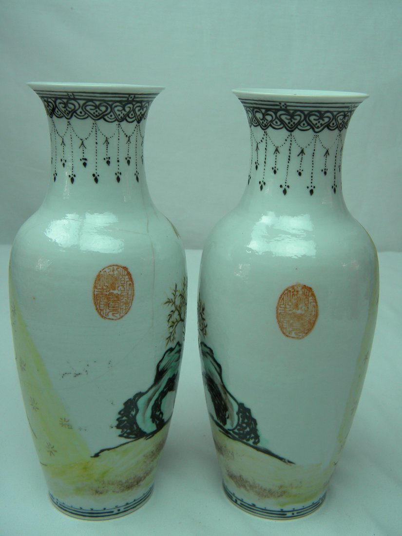 PAIR OF ANTIQUE CHINESE FAMILLE ROSE VASE WEST CHAMBER - 4