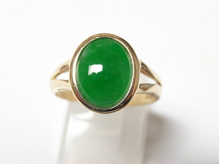 ANTIQUE CHINESE GOLD JADEITE RING