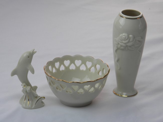 LOT OF LENOX BOWL, VASE AND DORPHIN