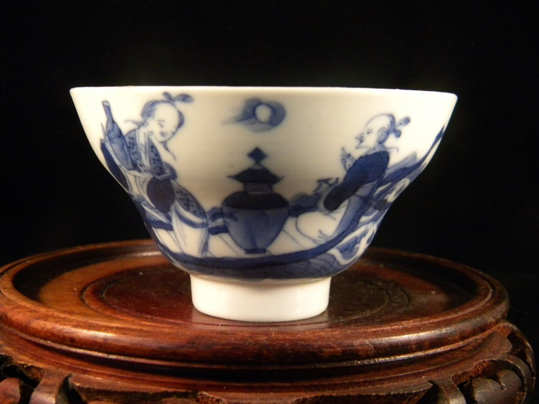 ANTIQUE CHINESE BLUE AND WHITE PEOPLE BOWL, MARKED